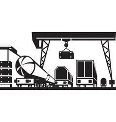 Railway cargo station vector