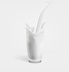 Realistic milk flow in glass and splash vector
