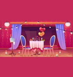 restaurant table served for romantic dating dinner vector image
