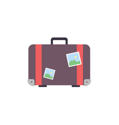 retro travel suitcase wiht stickers - flat vector image