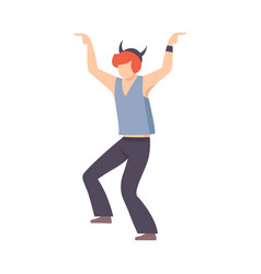 rock guy in hat with horns dancing at party vector image