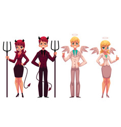 set of male female angels and devils in business vector image