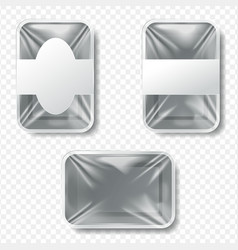 set plastic food container mockup o vector image