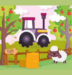 sheep duck tractor fruit trees hay wooden fence vector image