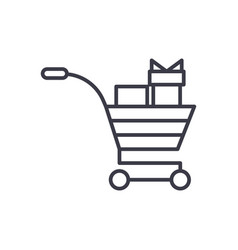 shopping cart with gifts concept thin line vector image vector image