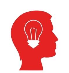 silhouette head man bulb idea isolated vector image