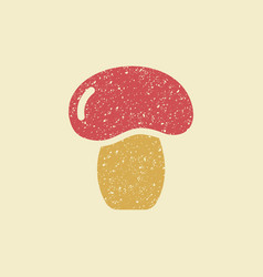 stylized flat icon of a mushroom vector image