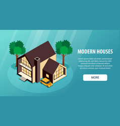 Suburban houses horizontal banner vector