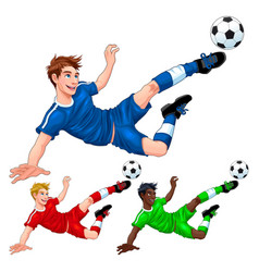 three soccer players with different hair skin and vector image