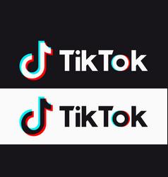tiktok icon glitch tik tok logo vector image