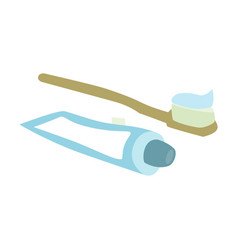 Toothpaste and toothbrushes in soft pastel colors vector