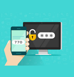 Two step authentication on smartphone vector