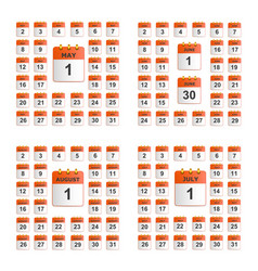 universal set of wall calendar vector image