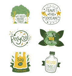 variety ecological stickers set vector image