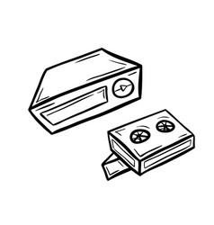 videoplayer with two cassettes vector image