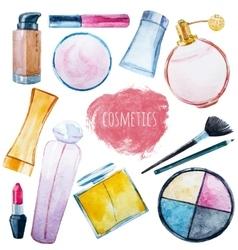 Watercolor cosmetics set vector