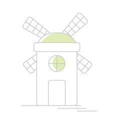 windmill or mill line icon with shadow vector image
