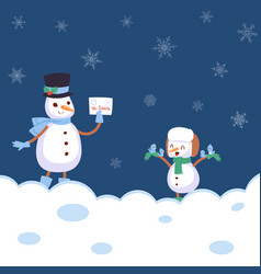 winter landscape with snowmans with scarf vector image