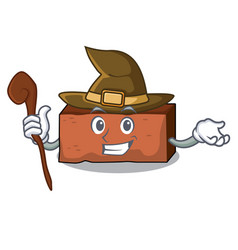 witch brick mascot cartoon style vector image