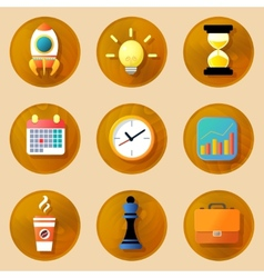 Wooden business icons set vector image