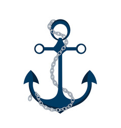 anchor with chain icon logo marine theme vector image vector image