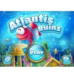 Atlantis ruins with fish rocket - vector image
