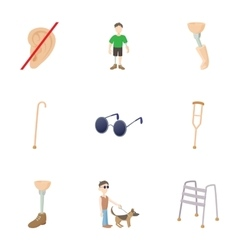 Disabled people icons set cartoon style vector image vector image