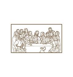 last supper Jesus Christ savior disciples apostles vector image