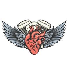 motor heart tattoo vector image vector image