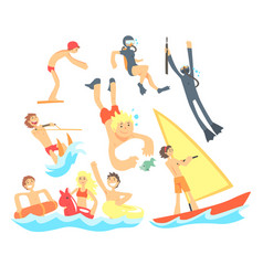 people on summer vacation at the sea playing and vector image vector image