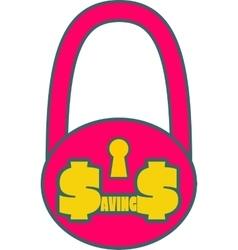 Savings word on lock vector image