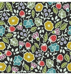 Seamless pattern with plants and flowers on the vector image vector image