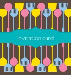 Utensils pattern invitation card vector