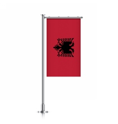 Albania flag hanging on a pole vector image vector image