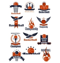 Basketball championship or sporting club emblems vector