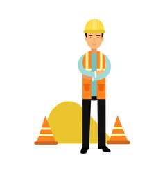 builder character in protective helmet and vest vector image vector image