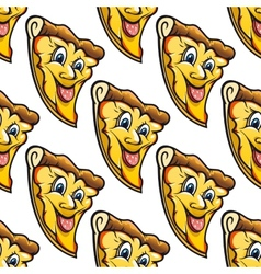 Seamless pattern of cheesy salami cartoon pizza vector image