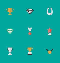 set of simple reward icons elements goblet medal vector image vector image
