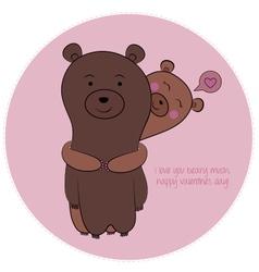Bear valentine vector image