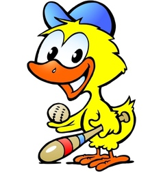 Hand-drawn of an cute chicken baby with bassball vector image