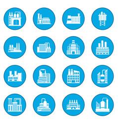 industrial building factory icon blue vector image