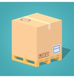 Low poly cardboard box on the pallet vector image vector image