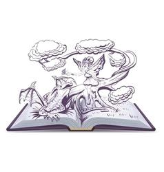 Open book with an Fantasy Elf Woman vector image vector image