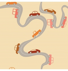 Seamless background with road and cars vector image