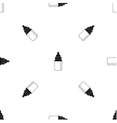 baby milk bottle pattern seamless black vector image