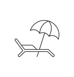Beach umbrella icon with deckchair vector image vector image