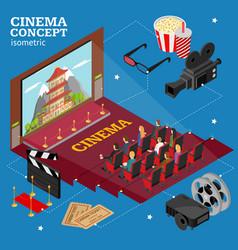 cinema concept movie interior auditorium isometric vector image