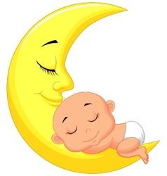 Cute baby cartoon sleeping on the moon vector image