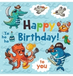 Lovely happy birthday card with pirates vector image
