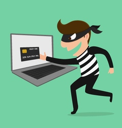 Thief Hacker steal your data credit card and money vector image